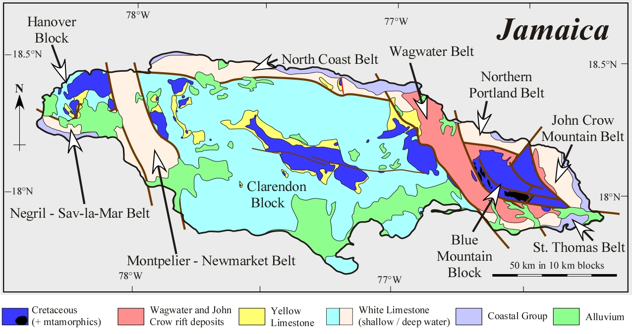 Sfm geology home page geologyjamaica figure 1 simplified map showing the geology of jamaica gumiabroncs Choice Image